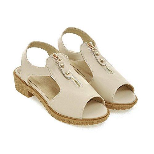 Amoonyfashion Femmes Pu Bas-talons Peep Toe Solides Sandales À Glissière Beige