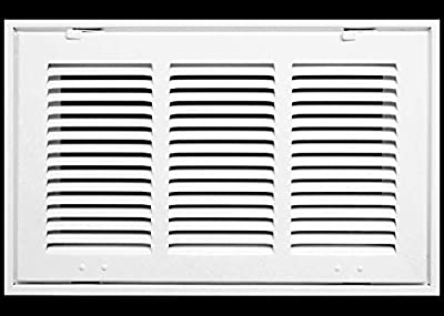 """14"""" X 10 Steel Return Air Filter Grille for 1"""" Filter - Fixed Hinged - Ceiling Recommended - HVAC Duct Cover - Flat Stamped Face - White [Outer Dimensions: 16.5 X 11.75]"""
