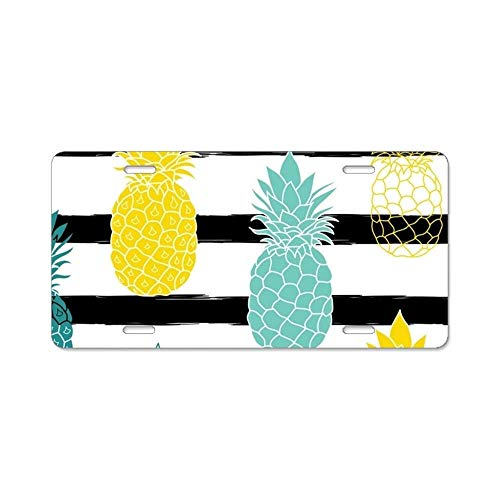 (YEX Carved Pineapples License Plate with 4 Holes Novelty Car Licence Plate Covers Tag Sign)