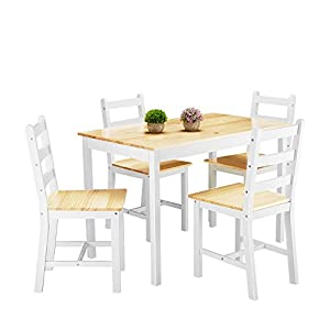 Panana Wooden Dining Table Set with 4 Chairs Contemporary Dining Furniture Three Color for Choice (Natural)