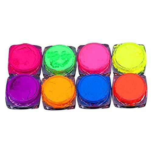 (Libobo8 Color Neon Pigment Nail Powder Dust Nail Glitter Gradient Glitter Iridescent Acrylic )