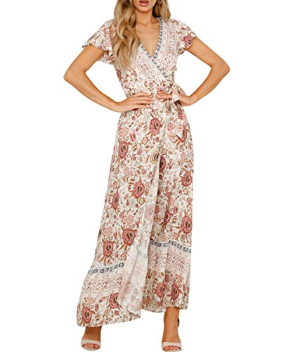 Women's Boho V Neck Wrap Vintage Floral Print Short Sleeve Split Flowy Beach Party Maxi Dress - 41aS77P7E 2BL - Women's Boho V Neck Wrap Vintage Floral Print Short Sleeve Split Flowy Beach Party Maxi Dress