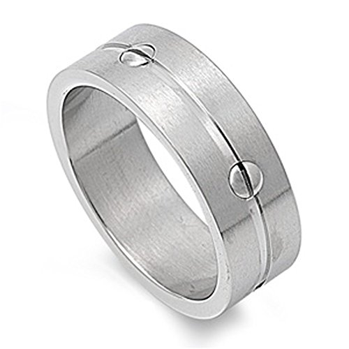 Men's Screw Ring Wholesale Polished Stainless Steel Band New USA 8mm Size 13