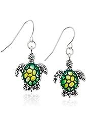 PammyJ Silvertone Green Turtle Dangle Earrings