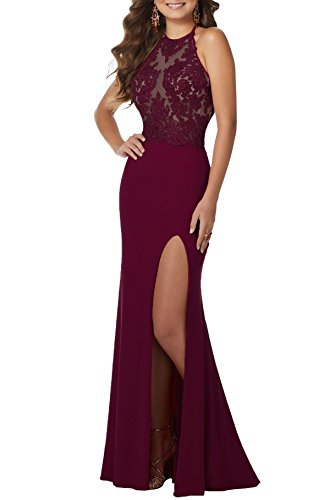 b643fe44f Women's Halter Mermaid Prom Dress Beaded Lace Evening Wedding Party Dresses  Long S030 (2,Burgundy)