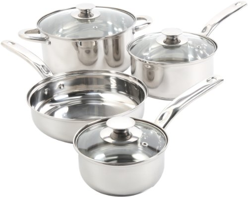 (Sunbeam 91340.07 Ansonville 7-Piece Cookware Set, Silver)