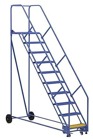 Vestil LAD-10-21-G-EZ- Escalera para almacén, 50 grados, agarre, 10 pasos, 53,3 cm, color azul: Amazon.es: Amazon.es