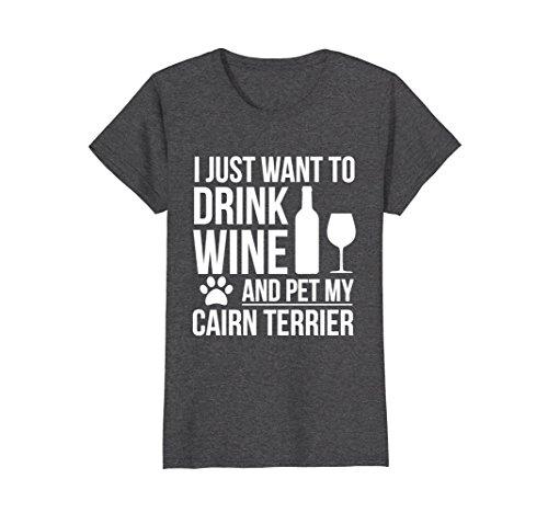 Womens Drink Wine Pet Cairn Terrier T-shirt Dog owner Dog Lovers XL Dark Heather