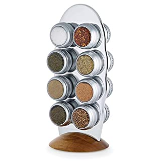 Kamenstein Savora Silver Magnetic Tin with Stainless Steel and Wood 16 Spice Packets, Jars & Rack Set (5193868)