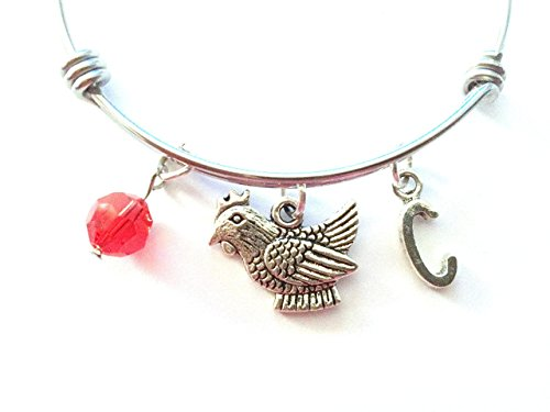 Chicken / Hen themed personalized bangle bracelet. Antique silver charms and a genuine Swarovski birthstone colored element.