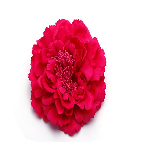 Flor de peonía pelo para la cabeza ramillete Tocado Clip 11cm flores Rosado oscuro