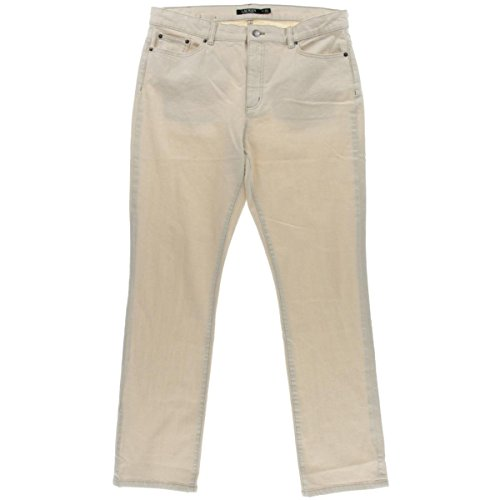 Lauren Ralph Lauren Womens Natural Seeded Denim Straight Leg Jeans Beige 2