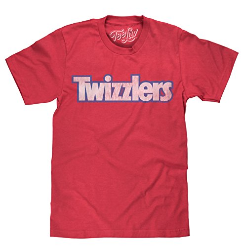 Tee Luv Twizzlers Candy Shirt - Distressed Twizzlers Logo Shirt (Medium) Red Heather
