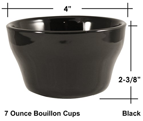 ITI Ceramic Stackable Bouillon Cups with Pan Scraper, 7 Ounce, 6-Pack (Black) by MBW NW Brands (Image #3)
