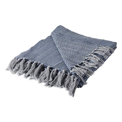 (Hebel Rustic Farmhou Cotton Textured Blanket Throw with Fringe for Chair, Couch, Picnic, Camping, Beach, Everyday U, 50 x 60 - Tonal Textured French Blue | Model BLNKT - 5 | 1750 x 60 inches)