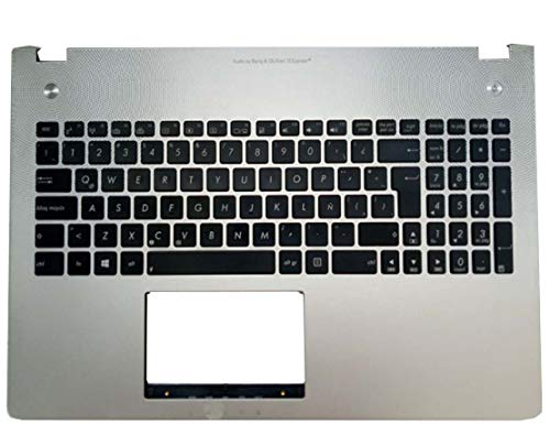 Laptop Palmrest&Keyboard for ASUS N56 N56J N56V N56JR N56JK N56JN N56VM N56VJ N56VB 9Z.N8BBU.K1E 0KN0-M32LA23 0KNB0-6621LA00 Silver C Shell with LA Latin America Black Keyboard with Backlit