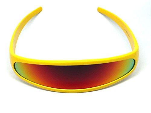 Futuristic Cyclops Shield Cosplay Mirrored Lens Visor Sunglasses (Visor Yellow Frame/Fire Revo) (X Men Cyclops Visor Costume)