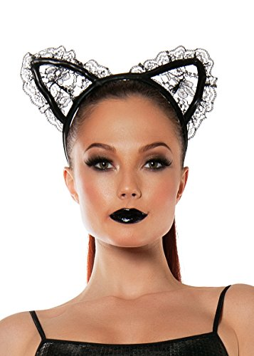 Starline Women's Lace Kitty Cat Ears Headband Accessory, Black, One Size (Kitty Sex Outfit)