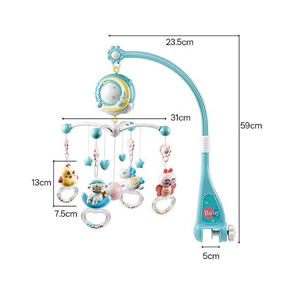 Rotating Hanging Rattles with Remote Control Music Box Blue Baby Musical Crib Mobile with Timing Function Projector and Lights for Newborn Infant Baby Boy Girl