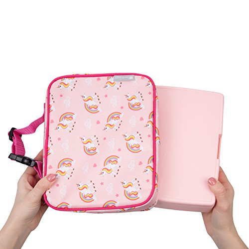 "Insulated Durable Lunch Box Sleeve - Reusable Lunch Bag - Securely Cover Your Bento Box, Works with Bentology Bento Box, Bentgo, Kinsho, Yumbox (8""x10""x3"") - Unicorn"
