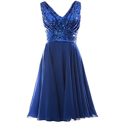 98dd53881389 MACloth Women V Neck Sequin Chiffon Short Wedding Party Bridesmaid Dress  Gown