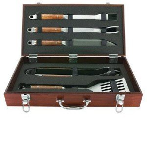 Price comparison product image MR. BAR-B-Q,  INC 02136X Mr. Bar.B.Q 5 Piece Tool Set With Genuine Hardwood Case