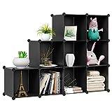 HOMFA Cube Storage Organizer, 9 Cubes DIY Plastic Modular Closet Cabinet Storage Organizer, Living Room Office Bookcases Shelves for Books, Cloths, Toys, Shoes, Arts, Black