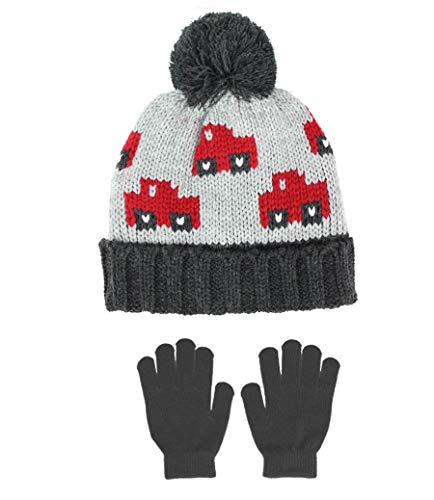 (Polar Wear Boys Cars Soft Stretch Knit Beanie Hat & Gloves Set, Grey/Red)