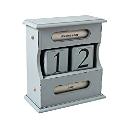Vintage-Finish Gray Wood Perpetual Desk Calendar with Day, Date & Month Blocks