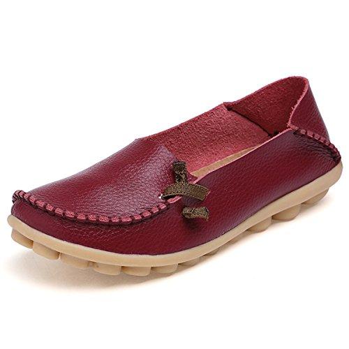 Mocasín piel Flat Loafer Fisca Red Wine Shoes de mujer la x7fqOIT