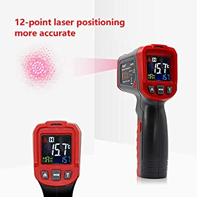 BDMETER Digital Infrared Thermometer, Non-Contact 12-Point Laser Temperature Gun -58?~1022? with Adjustable Emissivity for Cooking/Industrial Needs/Meat Refrigerator