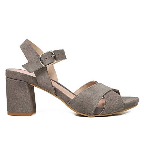 Confort Cómodas Plantilla Gel Hechos Piel Mujer Plataforma Tacón España Ancho Mimao Con Sandalias En Mujer Zapatos Sandalia Gris 1Z6xaqw6