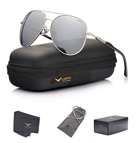 LUENX Aviator Sunglasses Mens Womens Polarized Mirror - Silver Lens Silver Metal Frame 60mm - UV 400 Protection with Case (Fell In Love In A Cop Car)