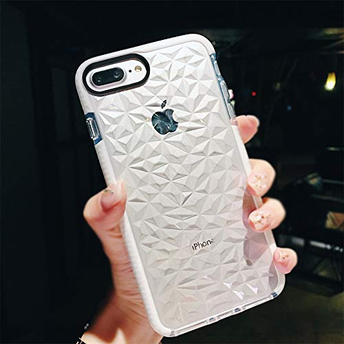 Sunluma Compatible iPhone 7 Plus Case, iPhone 8 Plus Case, Clear Crystal Geometric Diamond Soft Silicone TPU Shockproof Protective Bumper Cover Shell for iPhone 8 Plus/iPhone 7 Plus (White)
