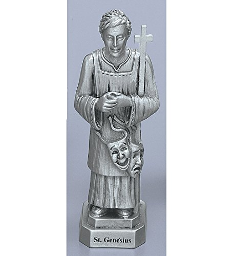 3.5 Inch Pewter Statue - Saint Genesius Genuine Pewter Statue with Laminated Wallet Size Prayer Card Gift Box