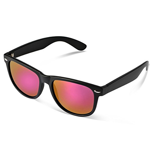 Duduma® Reflective Revo Color Full Mirrored Lens Large Horn Rimmed Style Uv400 Wayfarer Sunglasses (black frame with pink mirror - Pink Black Sunglasses And