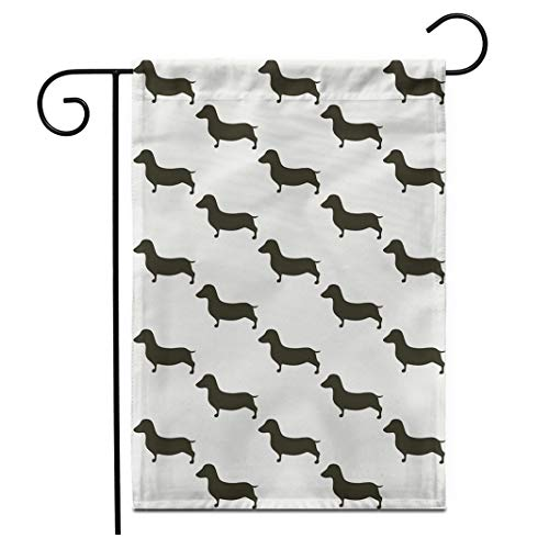 Adowyee 12″x 18″ Garden Flag Basset Cute Dachshunds Retro Small Black Dogs on Beige Outdoor Double Sided Decorative House Yard Flags