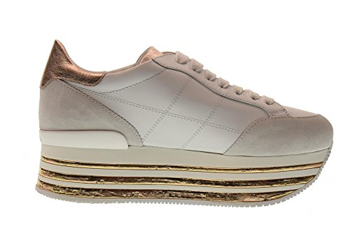 Hogan Kvinder Lave Sko Med Sneakers Hxw3490j061i7x0989 H349 Platform Bianco / Salmone vgcutAbJi
