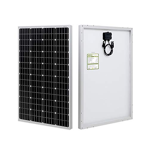 HQST 100 Watt 12 Volt Monocrystalline Solar Panel with MC4 Connectors High Efficiency Module PV Power for Battery Charging Boat, Caravan, RV and Any Other Off Grid Applications (Best Rated Solar Panels)