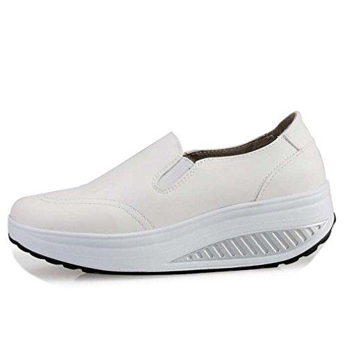 Solshine Damen Einfach Leder Bequem Erhöhte Sportliche Loafers Freizeitschuhe Weiß