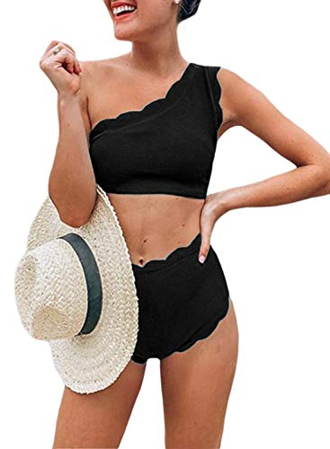 Black Scalloped Trim (Aleumdr Women's Rain of Petals Solid Wavy Edge One-Shoulder Bikini Set Black X-Large 16 18)
