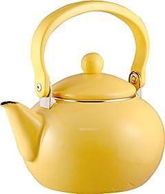 Calypso Basics 2-Quart Enamel-on-Steel Tea Kettle, Lemon Yellow