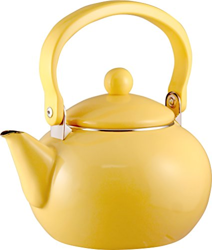 Calypso Basics by Reston Lloyd 2-Quart Enamel-on-Steel Tea Kettle, Lemon Yellow (Finish Yellow Enamel)