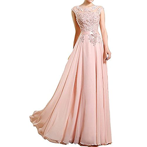 HONGFUYU Prom Formal Evening Dress Lace up A Line Jewel Floor Length with Appliques Beading Pearl Pearl Pink-US18W