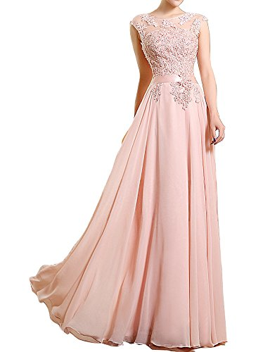 Prom Formal Evening Dress Lace up A line Jewel Floor length with Appliques Beading Pearl Pearl Pink-US18W