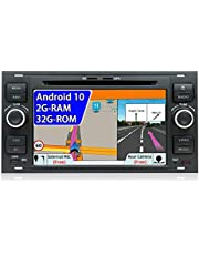 JOYX Android 10 Auto Stereo Hoofd unit Voor Ford C-Max/Connect/Fiesta/Focus/Fusion/Galaxy/Kuga S-Max/Transit/Mondeo Schwarz | Gratis Camera Canbus Externe Mic | 2G+32G |GPS 2 Din |7 Inch |WIFI 4G DAB SWC