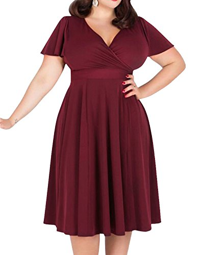 ZAFUL Women Vintage Plus Size V-Neck Casual Flower Printing Midi Swing Cocktail Party Dress (Red1, 9X Plus)