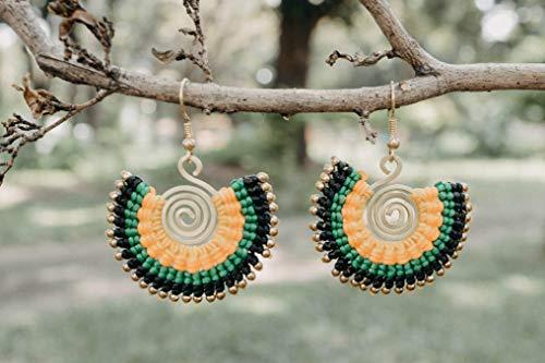 (Unique Women's Earrings, Brass Bead Earrings, Fair Trade Earrings, Boho Earrings, Artisan Earrings from Thailand)