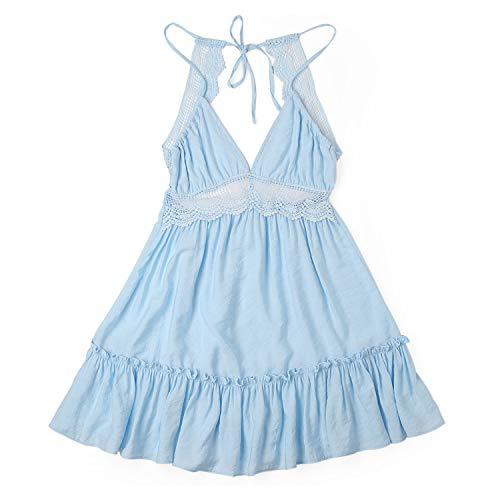 (Summer Lace Sexy Club Spaghetti Strap Backless Party Dress Elegant Bohemian Beach Sundress,Baby Blue,S)
