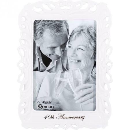 - Roman Inc 40th Anniversary White Porcelain Decorative Picture Frame